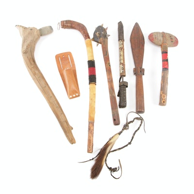 Native American Style Ceremonial Tomahawk, Spiked War Club, and More