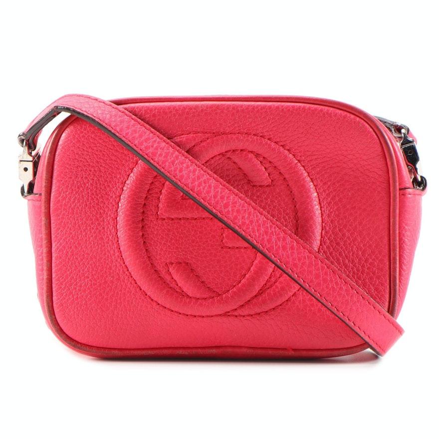 Gucci Children's Soho Mini Hot Pink Grained Leather Crossbody Bag