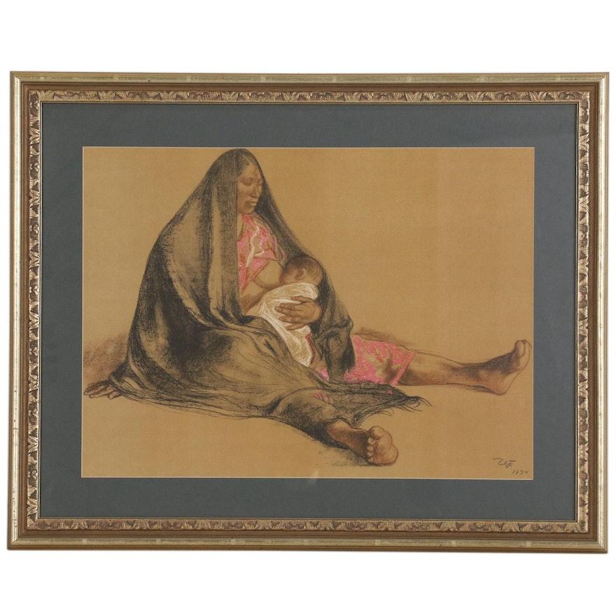 "Offset Lithograph After Francisco Zuniga ""Maternidad"""