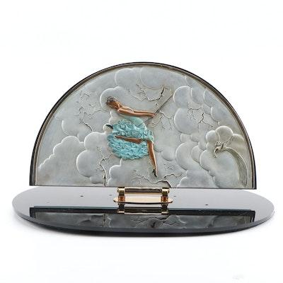 "Erté Patinated Bronze Vanity Mirror ""The Swing"", 1985"