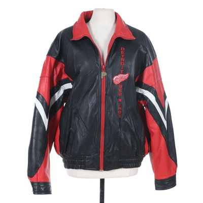 Men's Detroit Red Wings NHL Pro Player Insulated Leather Jacket