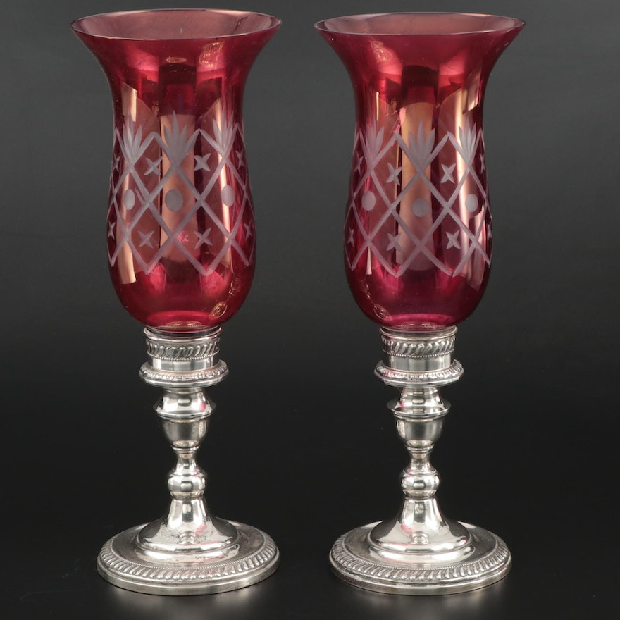Arrowsmith Sterling Silver and Ruby Flashed Glass Candlesticks