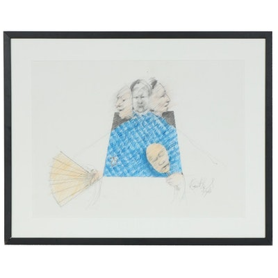 Richard Garriott-Stejskal Abstract Figural Mixed Media Drawing, 2007