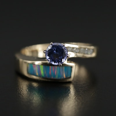 14K Gold Tanzanite, Opal Doublet and Diamond Bypass Ring