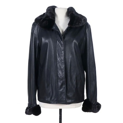 Chosen Couture Collection Mink Fur Trimmed Black Leather Jacket