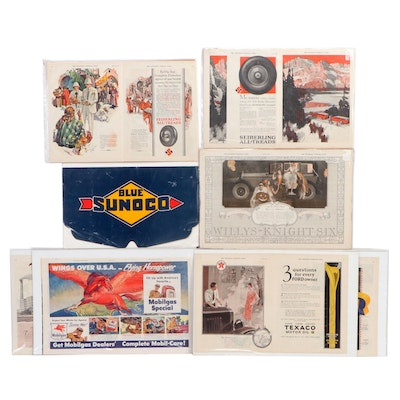 Magazine Advertisement Pages and a Radiator Shield, Early to Mid 20th Century