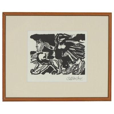 """Woodcut after Hans Orlowski """"Schreitender Cherubim"""", Mid-20th Century"""