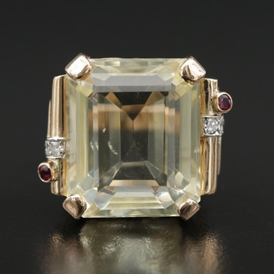 14K Gold 40.80 CT Lemon Citrine, Ruby and Diamond Statement Ring