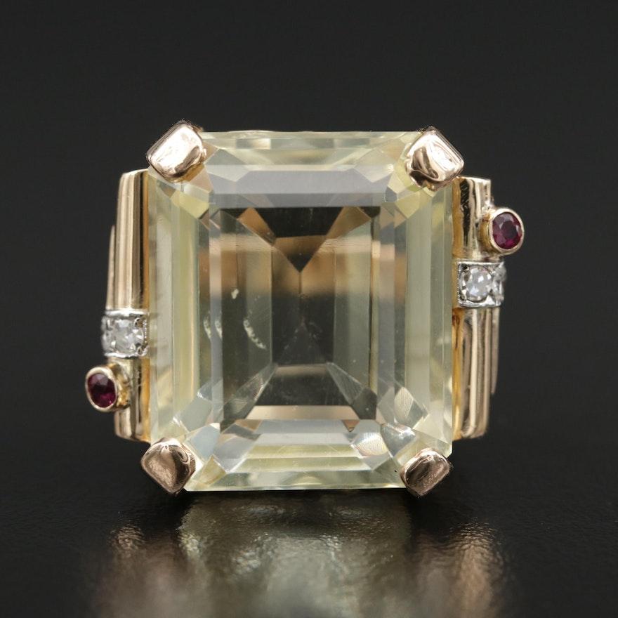 14K Gold 40.80 CT Lemon Citrine, Ruby and Diamond Statement Ring