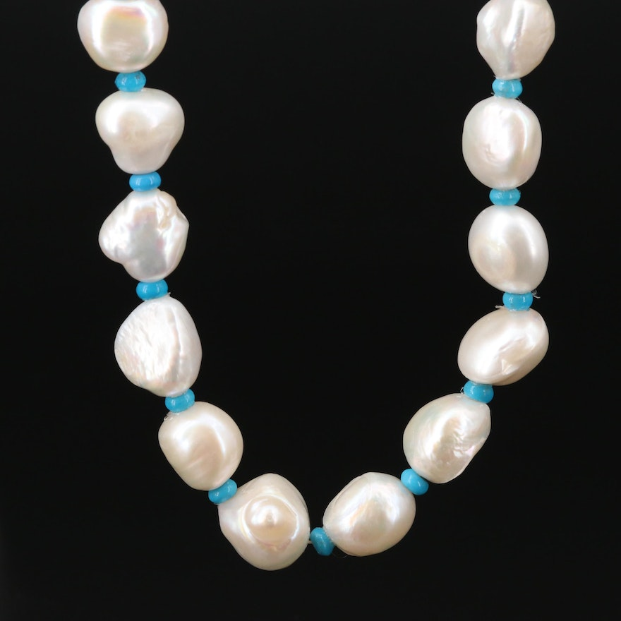 Cultured Pearl and Turquoise Necklace with 14K Gold Clasp