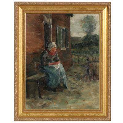 Genre Style Oil Painting of a Woman Sewing