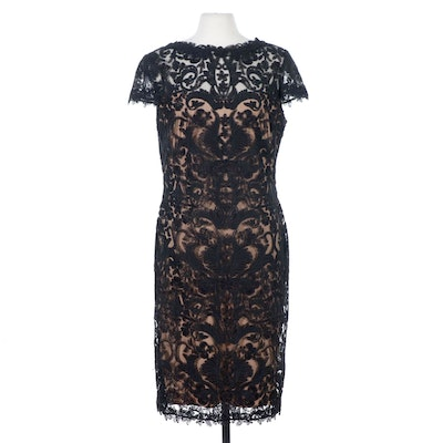 Tadashi Shoji Black Soutache Embroidery and Nude Cocktail Dress