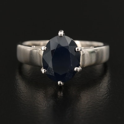 14K Sapphire Cathedral Solitaire Ring