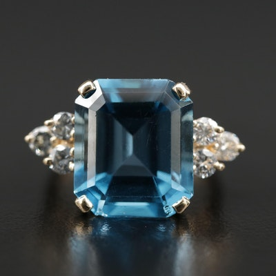 14K Gold Blue Topaz and Diamond Ring