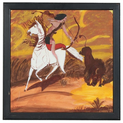 "Charles Owens Oil Painting ""Buffalo Hunter"", Mid to Late 20th Century"