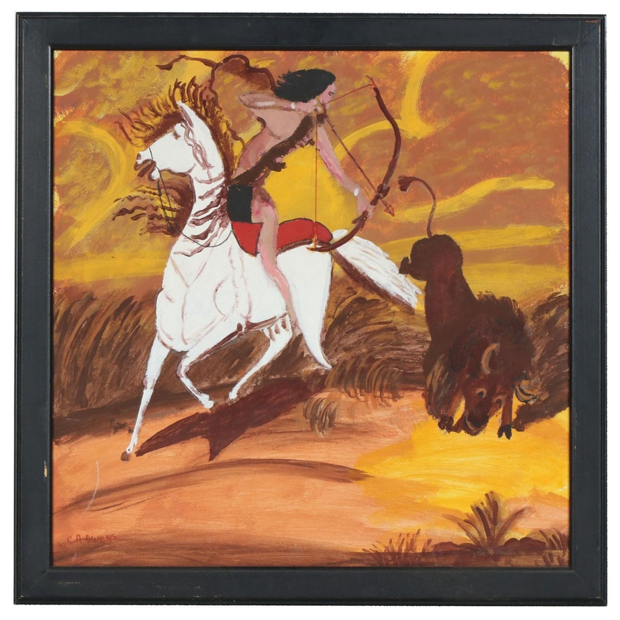 """Charles Owens Oil Painting """"Buffalo Hunter"""", Mid to Late 20th Century"""