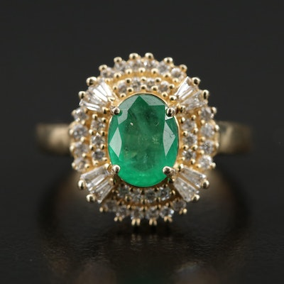 14K Gold 1.42 CT Emerald and 1.00 CTW Diamond Ring