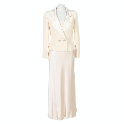 Travilla Ivory Satin Evening Slip Dress and Blazer with Embellished Buttons