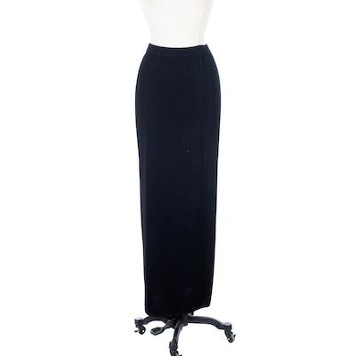 St. John Basics Black Knit Maxi Skirt
