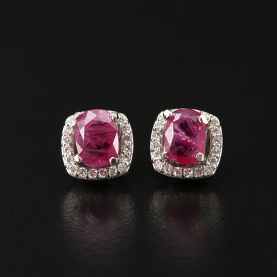 14K Ruby and Diamond Halo Earrings