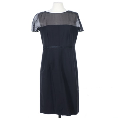 BVM Spa Black Tessuto Sheath Dress with Illusion Neckline