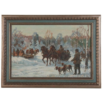 Wintery Carriage Ride Oil Painting, Mid-Late 20th Century