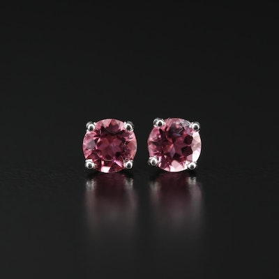 Sterling Silver Tourmaline Solitaire Earrings