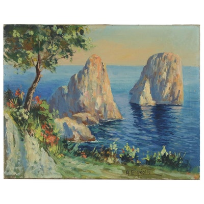 "Impressionist Style Oil Painting ""Capri"", 20th Century"