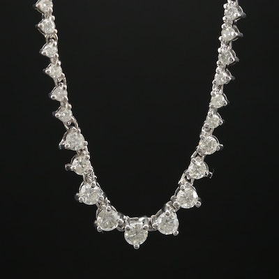 14K Gold 5.25 CTW Diamond Rivière Necklace