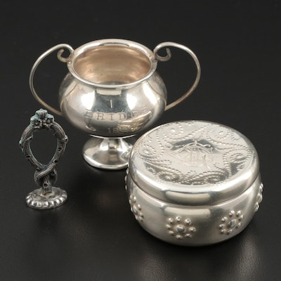 Sterling Silver Box, Trophy Cup and Wax Seal Stamp