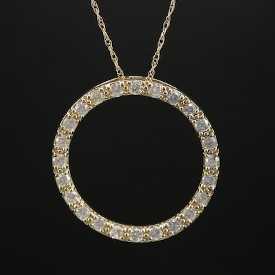 14K 1.00 CTW Diamond Circle Pendant Necklace
