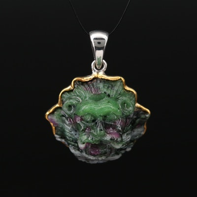 Sterling Ruby-In-Zoisite Lion Pendant