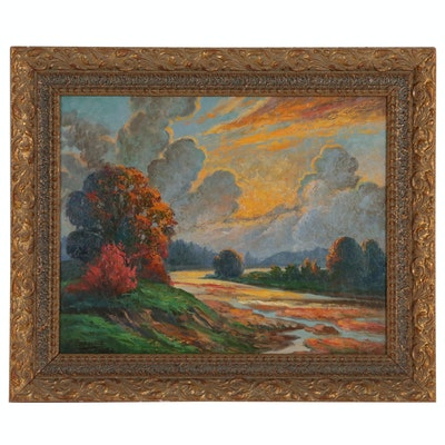 Sunset Landscape Oil Painting, 1952