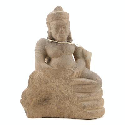 Cambodian Buddha Sandstone Sculpture