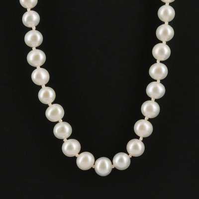 14K Single Strand Pearl Necklace