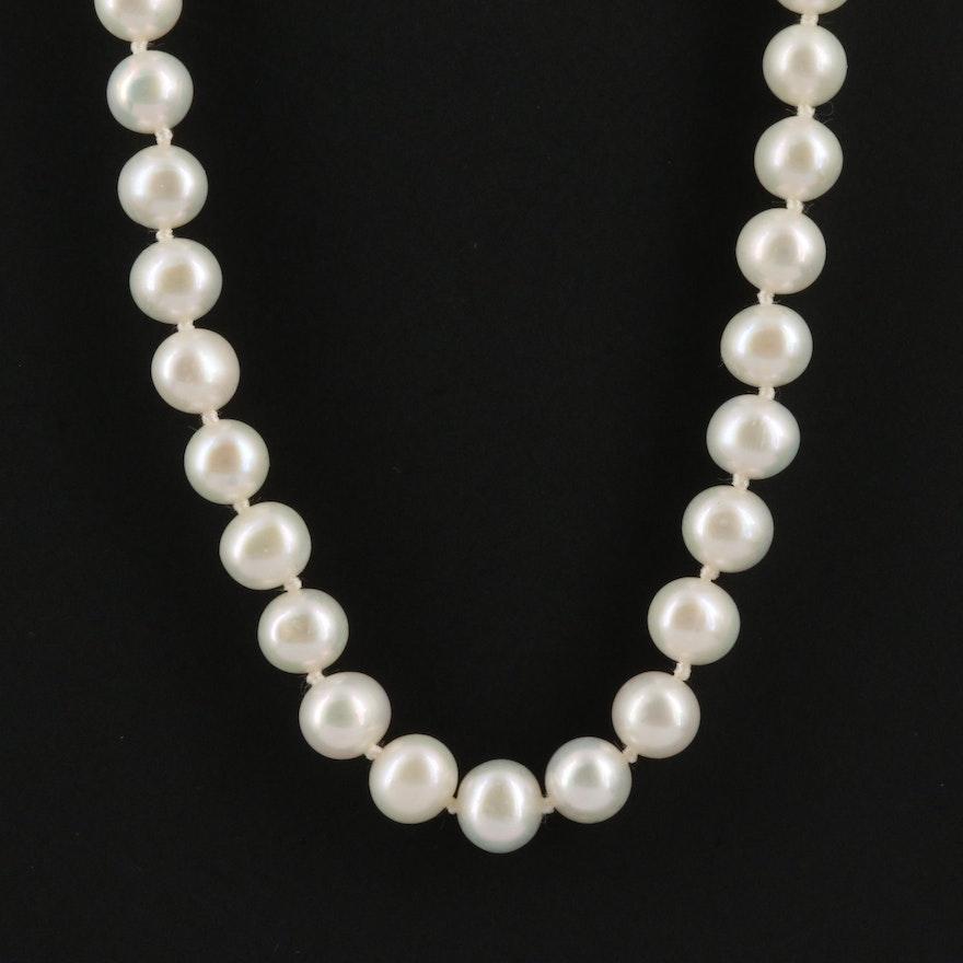 14K Single Strand Pearl Necklace