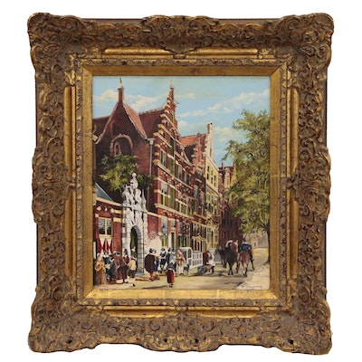 Dutch Style Street Scene Oil Painting, Mid-Late 20th Century