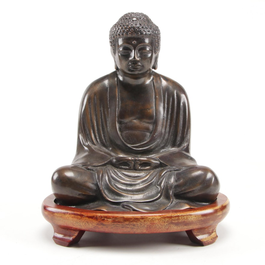 """East Asian """"Dhyana Mudra"""" Brass Buddha with Wooden Base, Mid/Late 20th Century"""