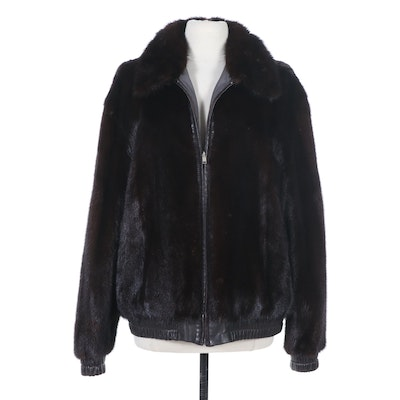 Men's Mink Fur and Leather Bomber Jacket