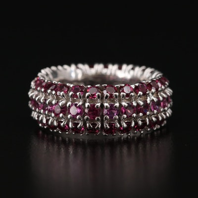 Sterling Rhodolite Garnet Eternity Band