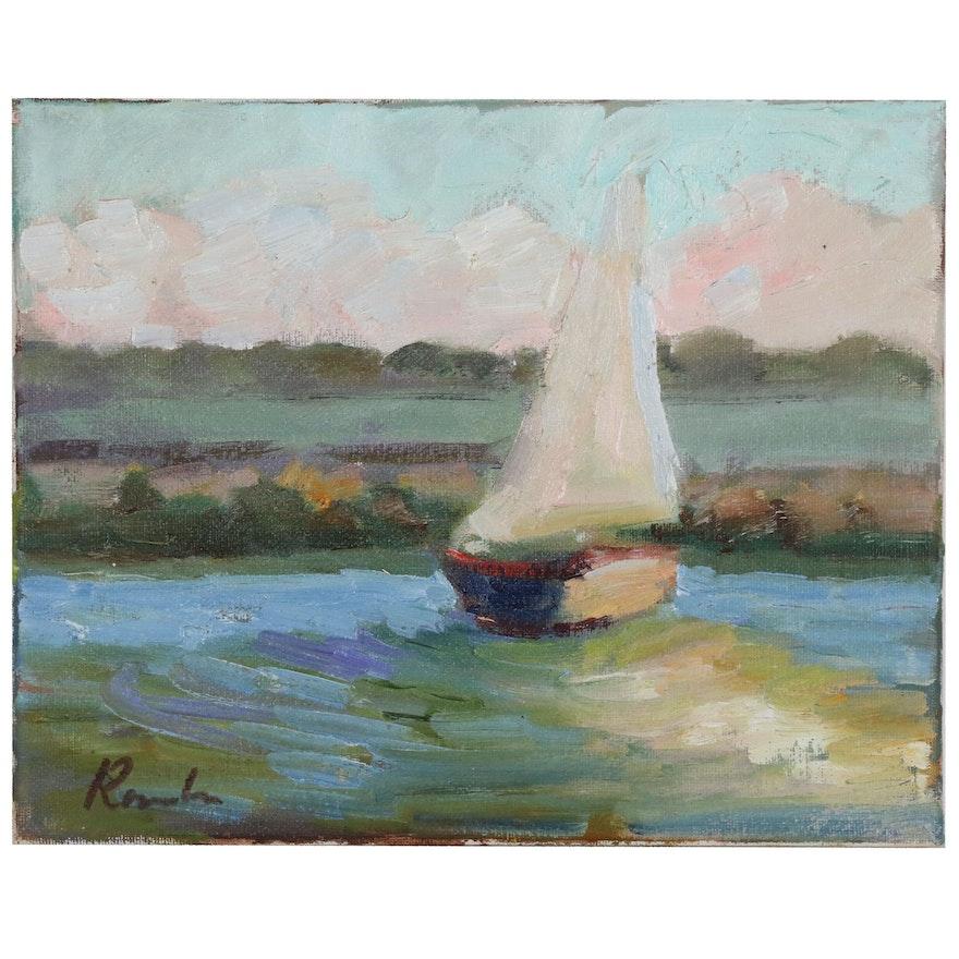 Sally Rosenbaum Oil Painting of a Sailboat, 21st Century