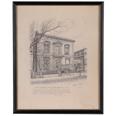 "Geneva South Lithograph ""The Old Cuvier Dress Club Building"", 1974"