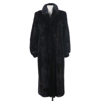 Anne Klein II Blackglama Dark Ranch Mink Fur Coat with Banded Cuffs