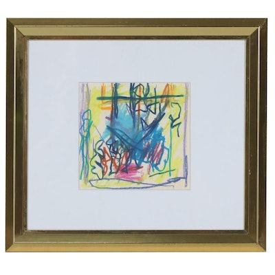 Paul Chidlaw Abstract Pastel Drawing, Mid to Late 20th Century