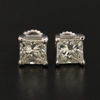 14K Gold 1.60 CTW Princess Cut Diamond Stud Earrings
