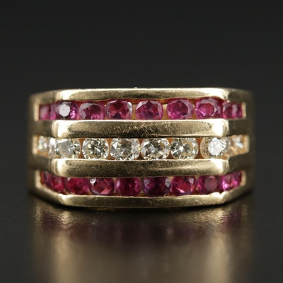 18K Gold Diamond and Ruby Channel Ring