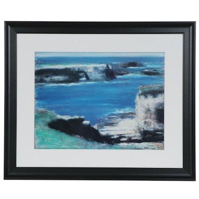 John B. Stockwell Pastel Drawing of Impressionist Style Coastal Landscape, 1990