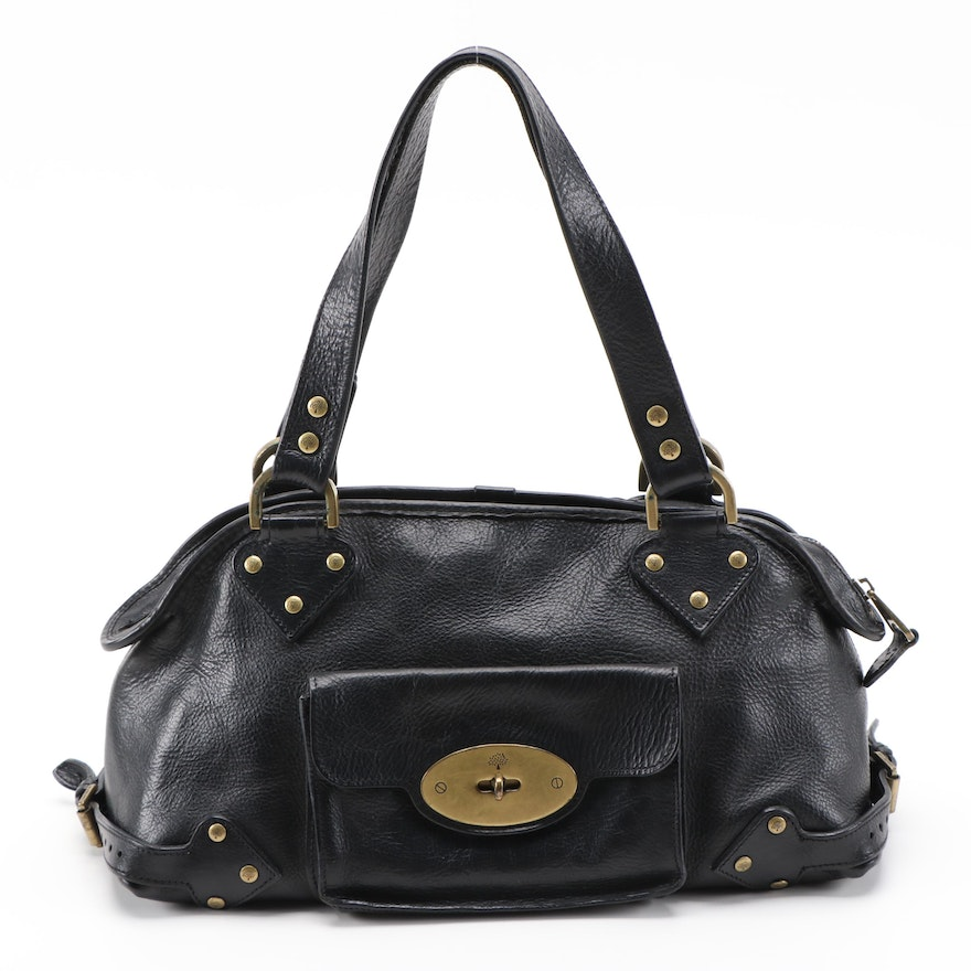 Mulberry Black Grained Leather Satchel