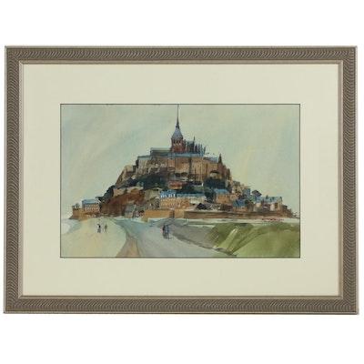 Richard Thomsen Mont Saint-Michel Landscape Watercolor Painting