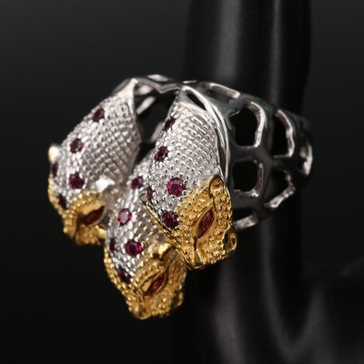 Stering Rhodolite Garnet and Sapphire Tripartite Lion Head Ring